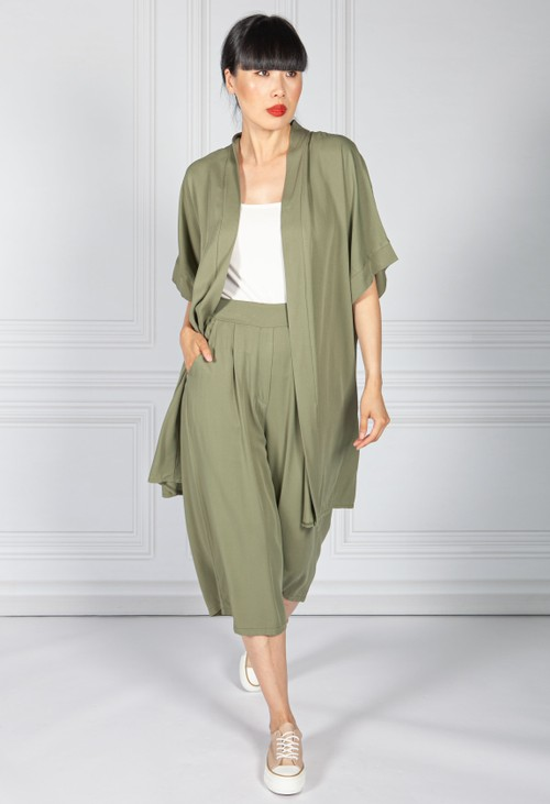 Pamela Scott Khaki Maxi Kimono Style Cardigan & Pant Set