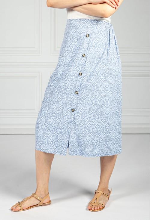 Pamela Scott Afternoon Sky Button Through Vintage Print Skirt