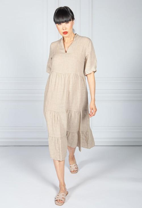 Pamela Scott Stone Linen Smock Dress