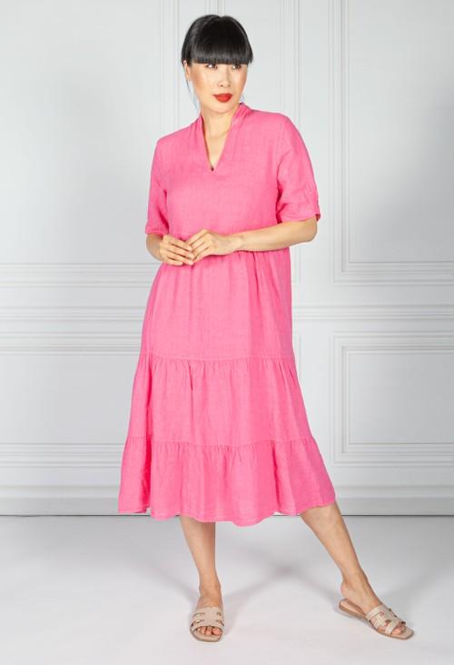 Pamela Scott Fuchsia Linen Smock Dress