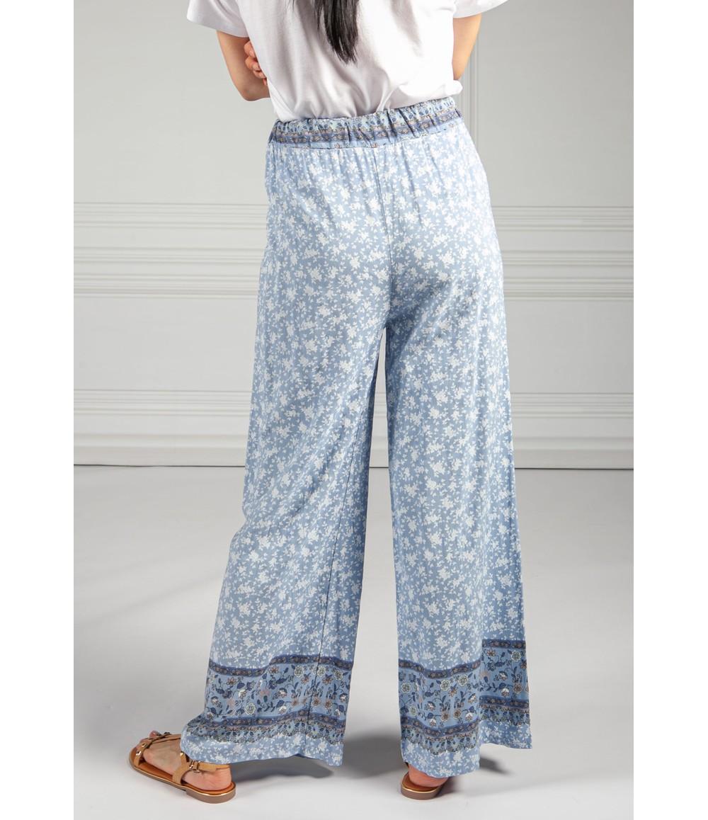 Pamela Scott Rose Blossom Printed Trousers in Blue
