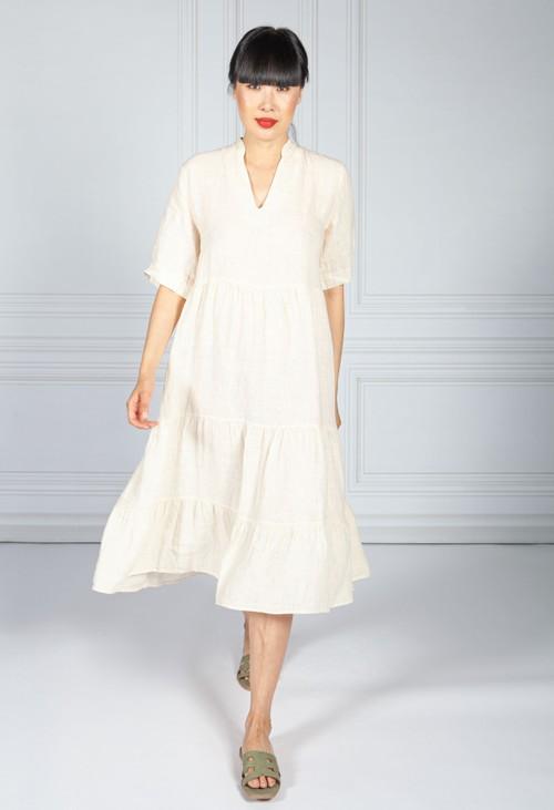 Pamela Scott Cream Linen Smock Dress
