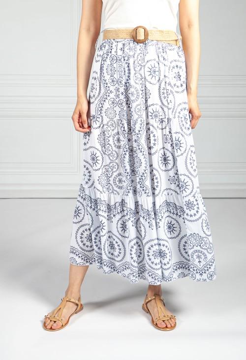 Pamela Scott Stitching Print Boho Skirt in Navy & White