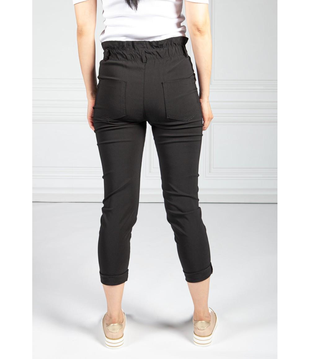 Pamela Scott Double Button Black Paper Bag Trousers