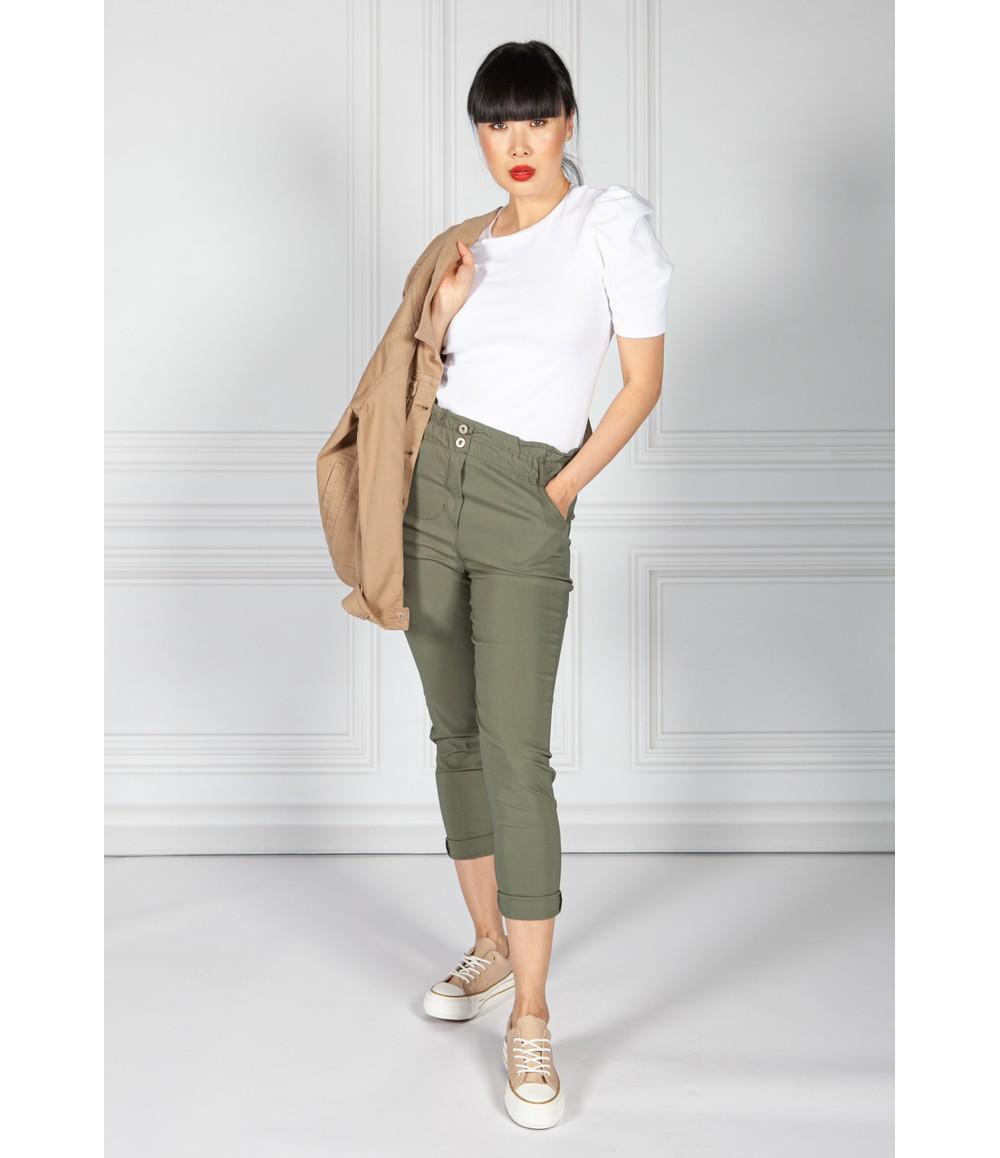 Pamela Scott Double Button Khaki Paper Bag Trousers