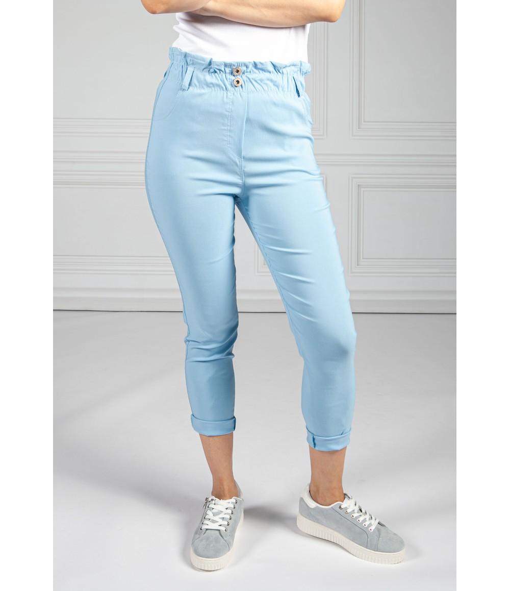 Pamela Scott Double Button Sky Blue Paper Bag Trousers