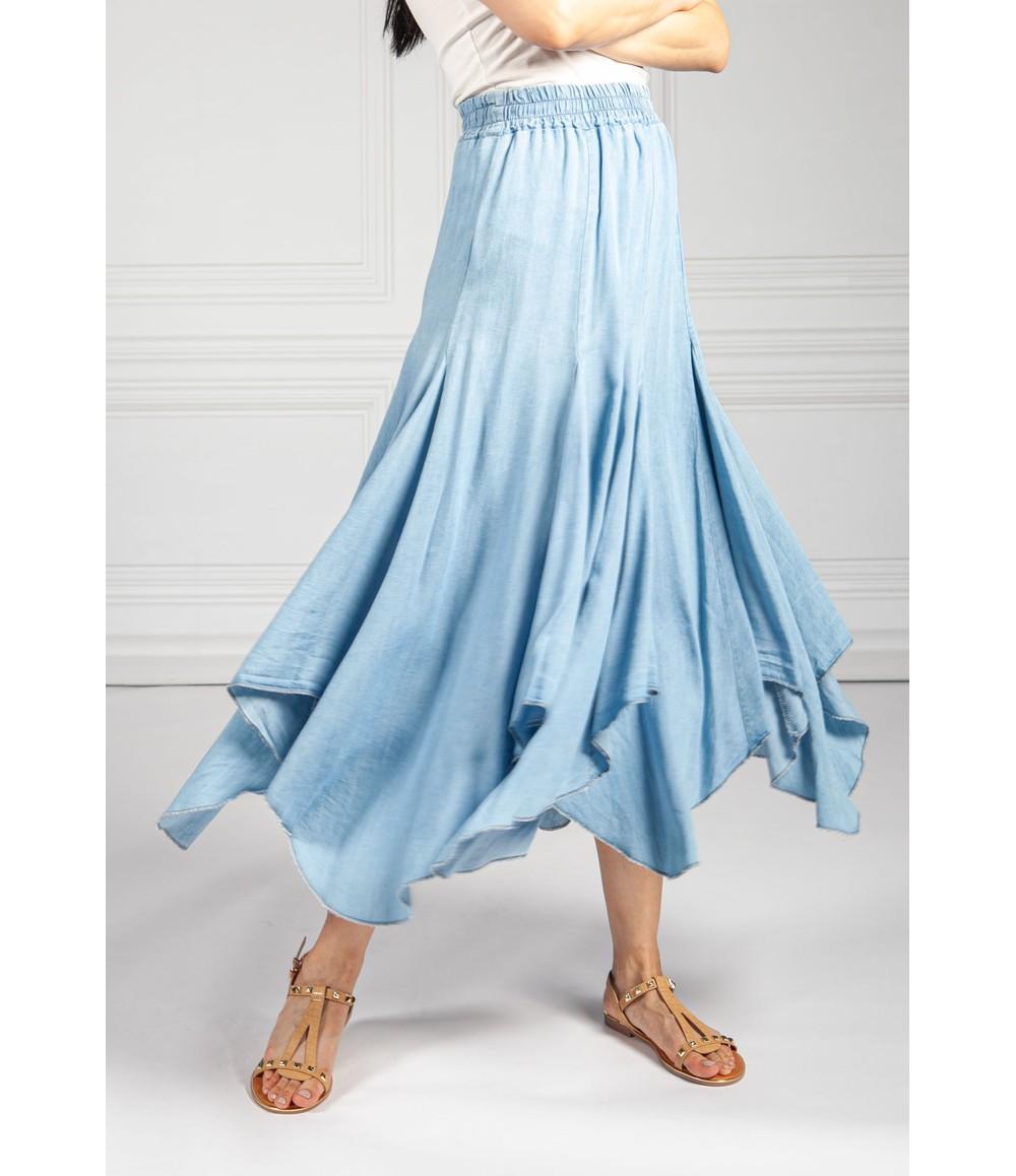 Pamela Scott Asymmetric Hem Tencel Skirt