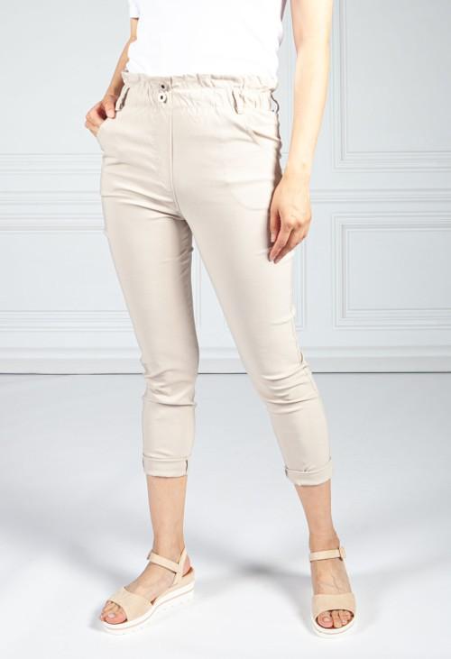 Pamela Scott Double Button Sand Paper Bag Trousers