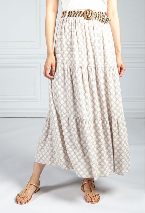 Pamela Scott Latte Paisley Print Skirt with Belt