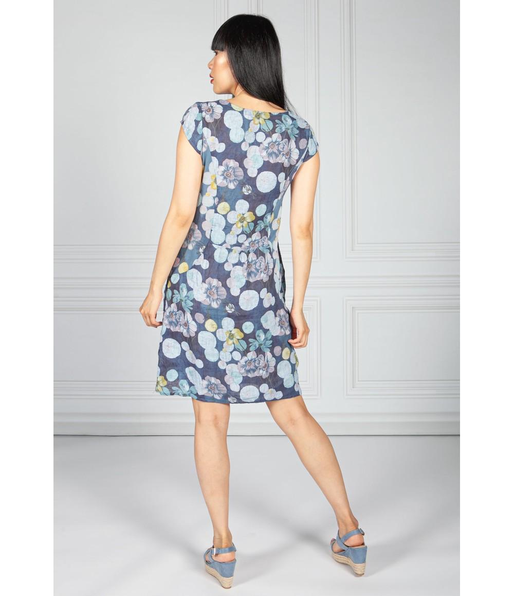 Pamela Scott Linen Dress in Navy Floral