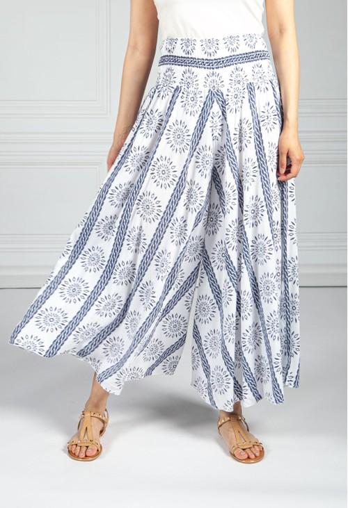 Pamela Scott Summer Burst Print Trousers in White