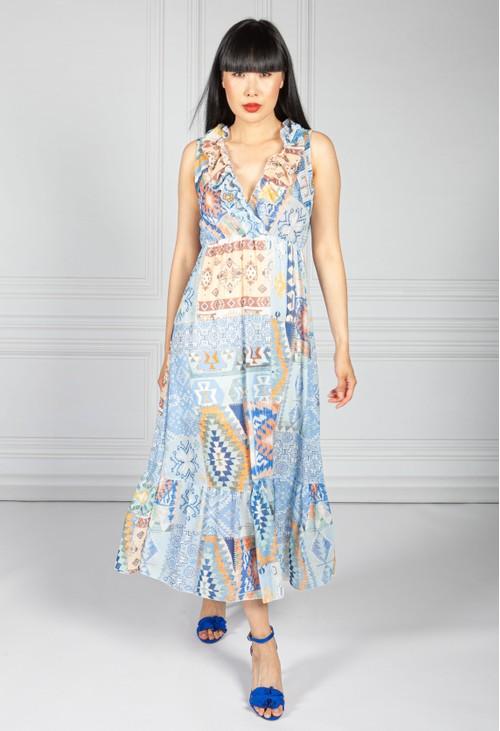 Pamela Scott V Neck Aztec Print Dress