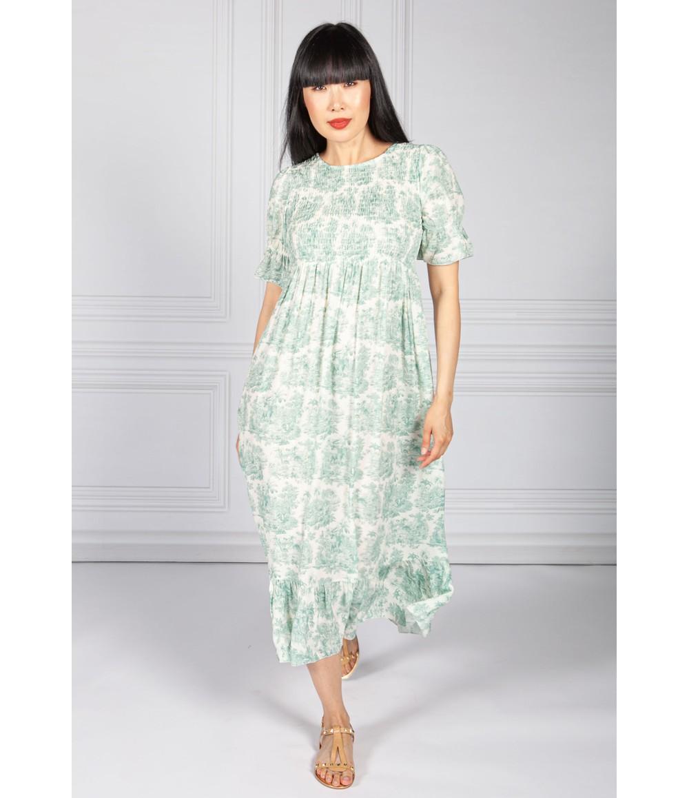 Pamela Scott Green Delicate Print Dress Smocking Bodice