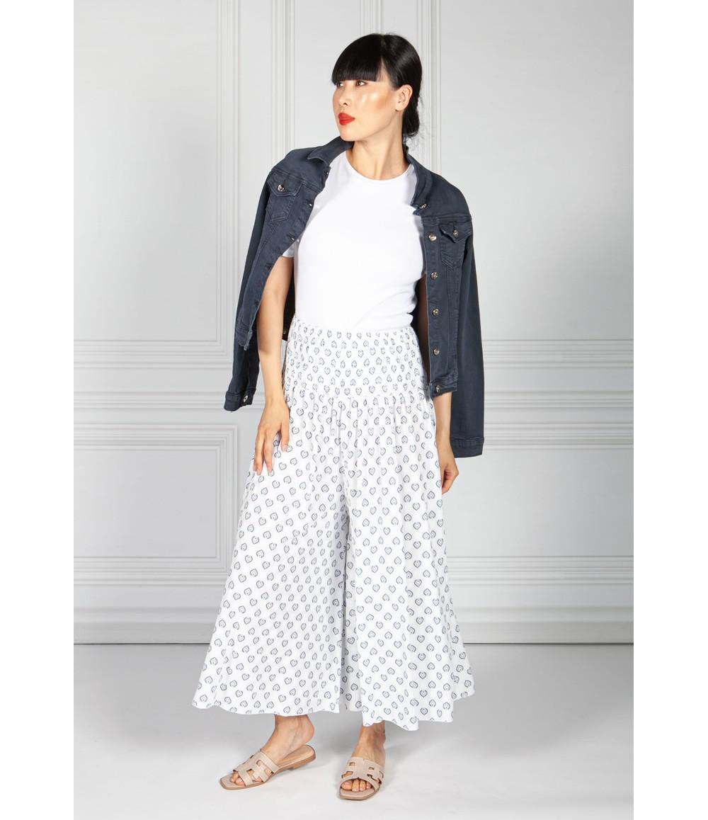 Pamela Scott Peacock Print Trousers in White