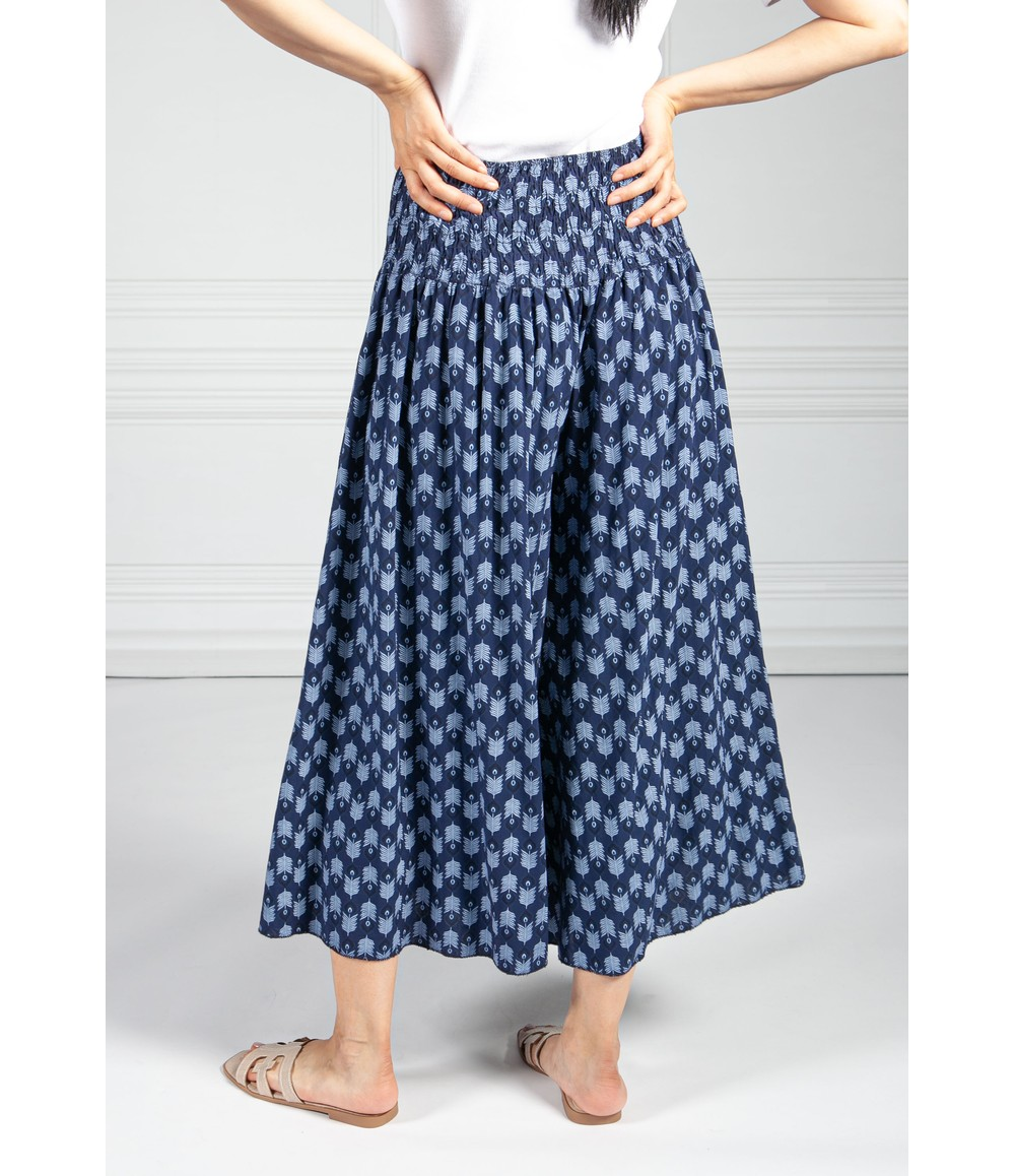 Pamela Scott Peacock Print Trousers in Navy