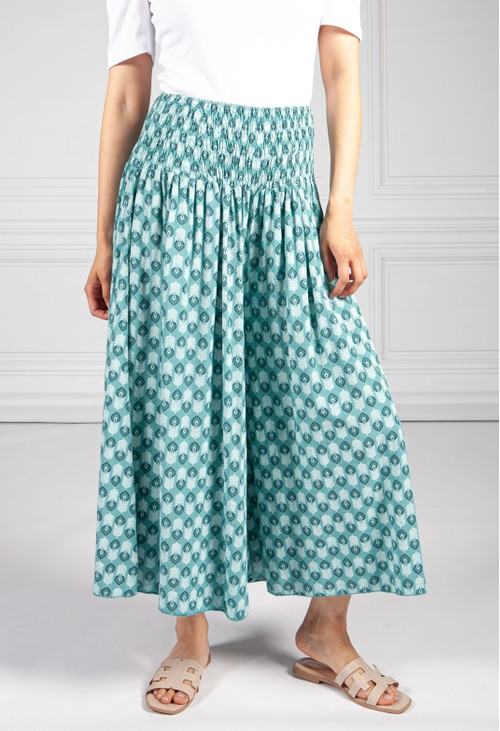 Pamela Scott Fern Green Peacock Print Trousers