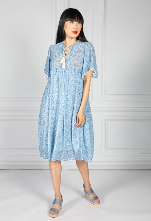 Pamela Scott Blue Bloom Chiffon Dress