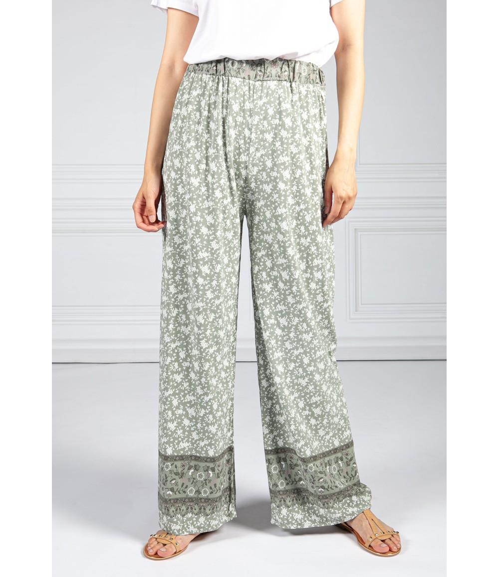 Pamela Scott Rose Blossom Printed Trousers in Khaki