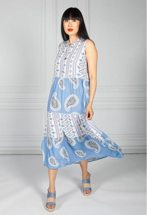 Pamela Scott Collarless Tribal Print Dress in Blue