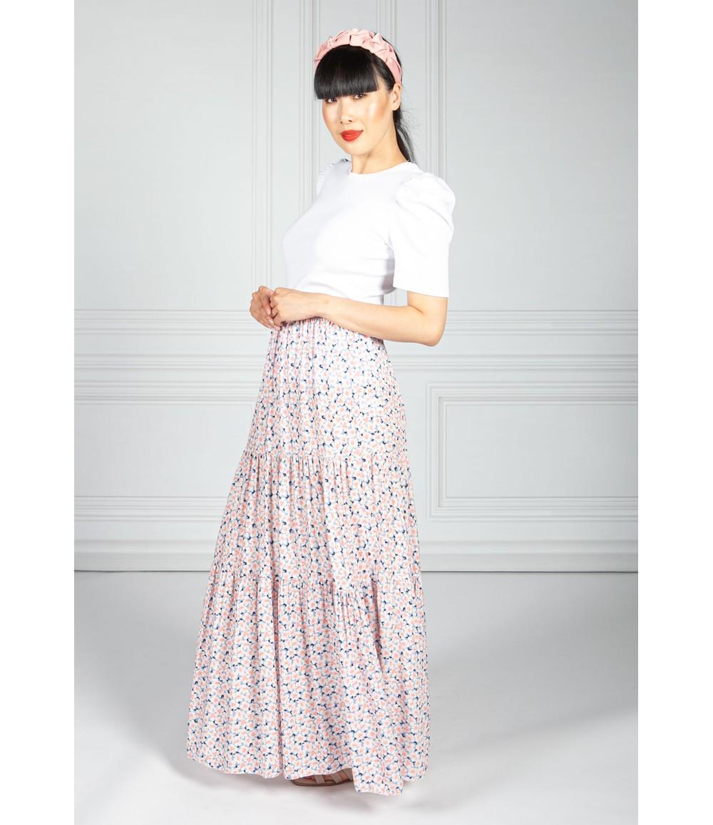 Pamela Scott Rose Pink Blossom Print Skirt