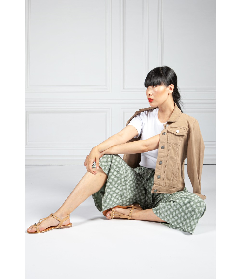 Pamela Scott Khaki Vintage Print Paper Bag Trousers