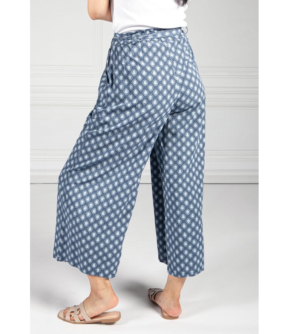 Pamela Scott Navy Vintage Print Paper Bag Trousers