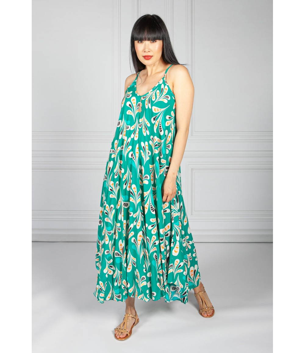 Pamela Scott Emerald Abstract Print Maxi Dress