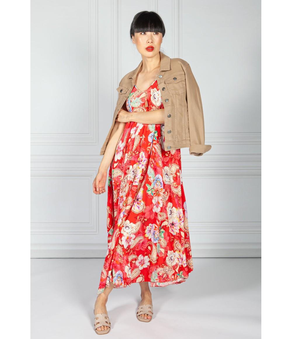 Pamela Scott Floral Print Maxi Dress in Ruby Mix