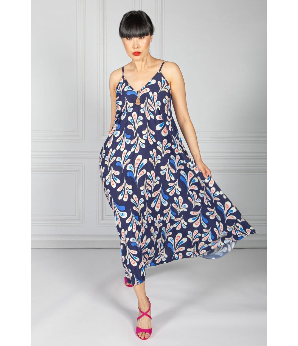 Pamela Scott Midnight Abstract Print Maxi Dress