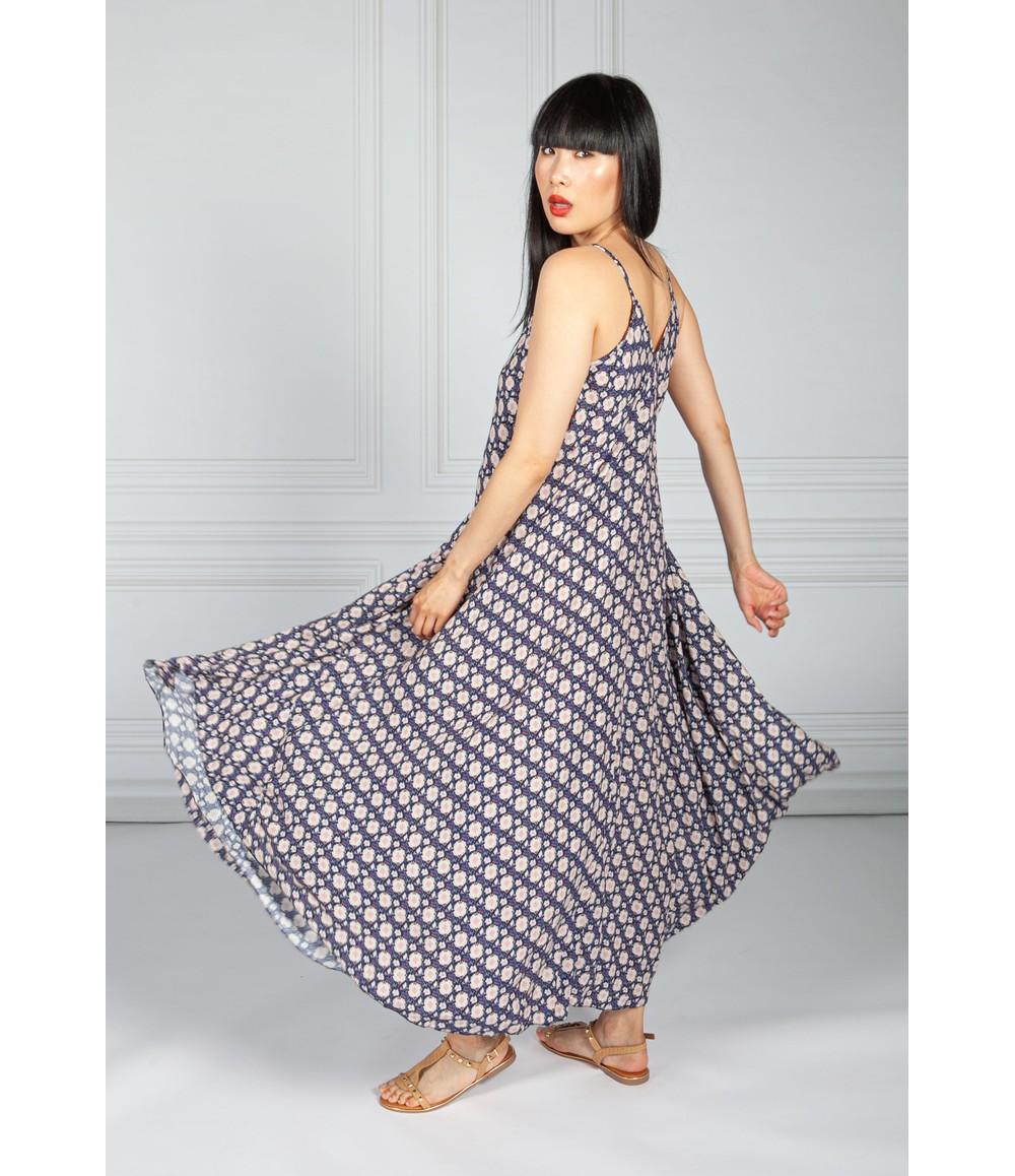 Pamela Scott Navy Vintage Print Maxi Dress