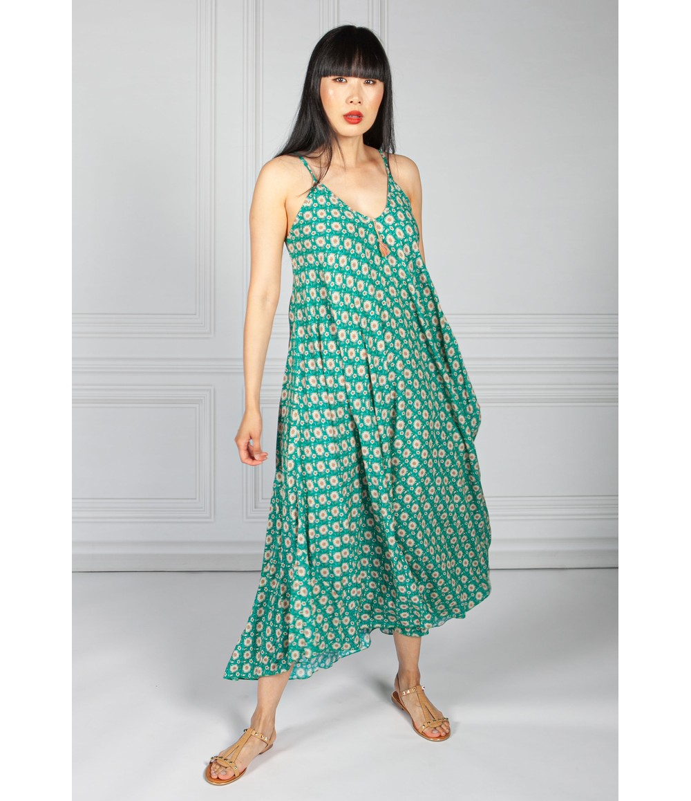 Pamela Scott Green Vintage Print Maxi Dress