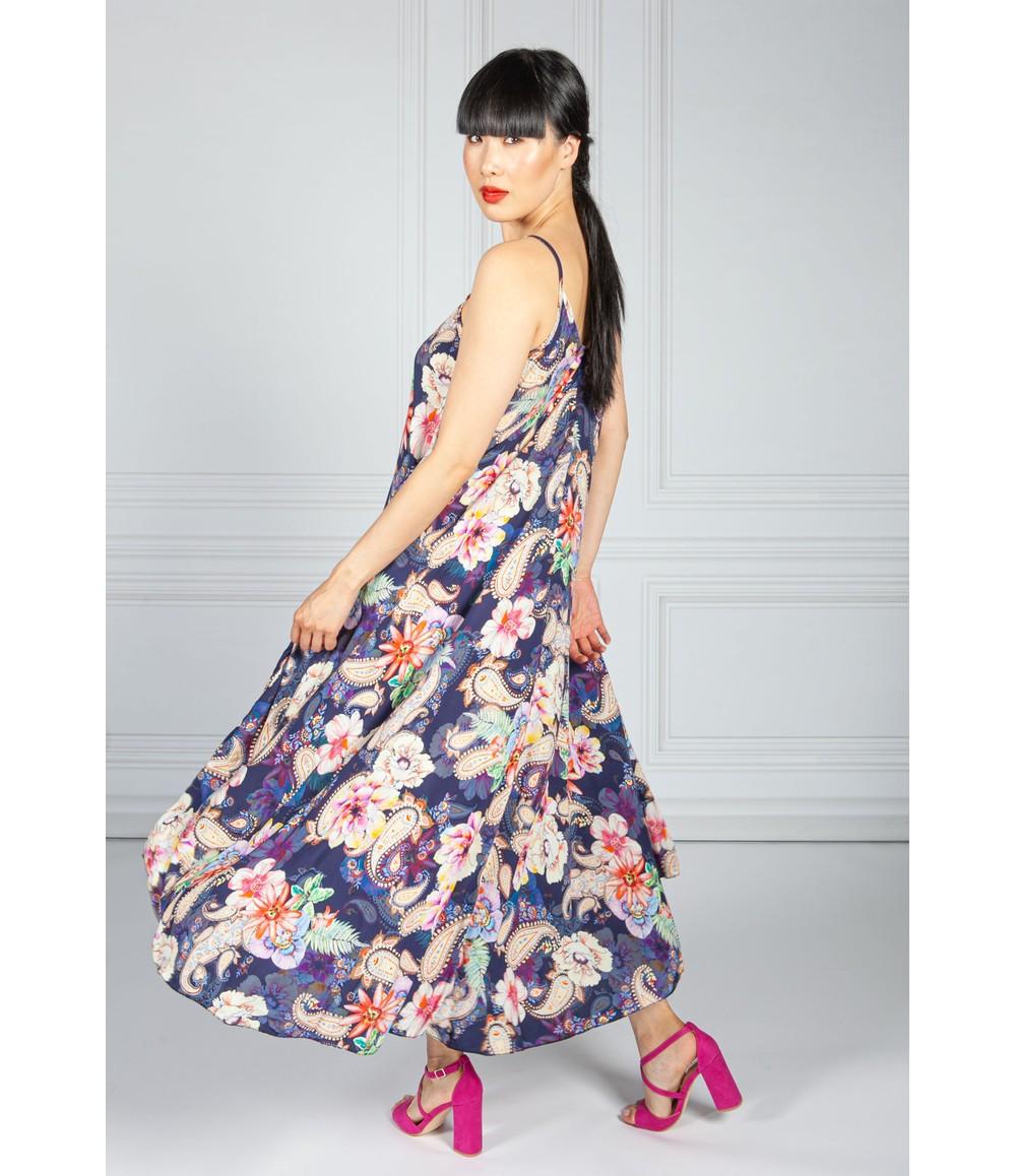 Pamela Scott Navy Floral Print Maxi Dress