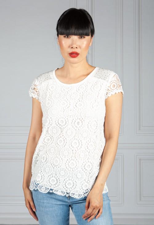 Pamela Scott White Diamante And Crochet Detail Top