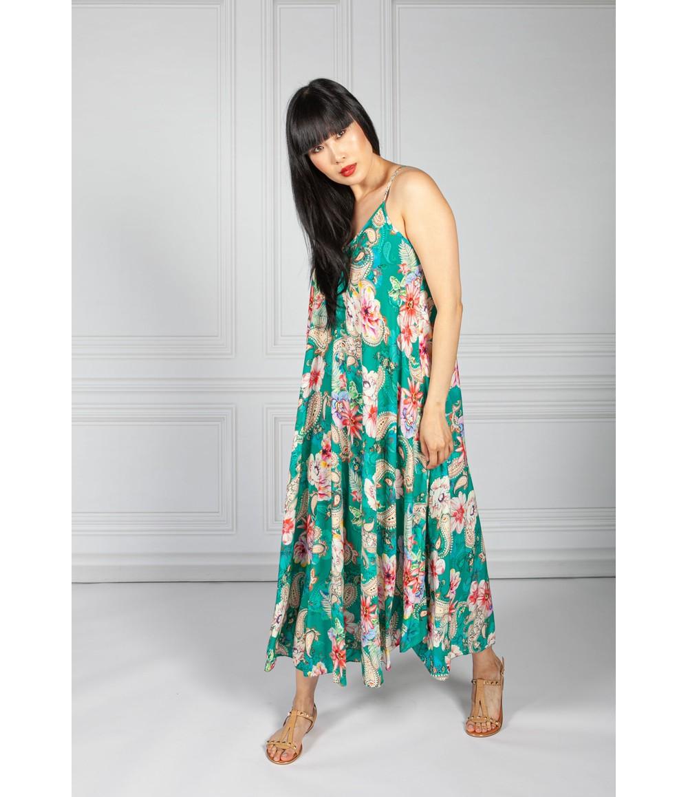 Pamela Scott Emerald Green Abstract Print Maxi Dress