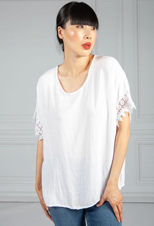 Pamela Scott Brilliant White Lace Trim Blouse