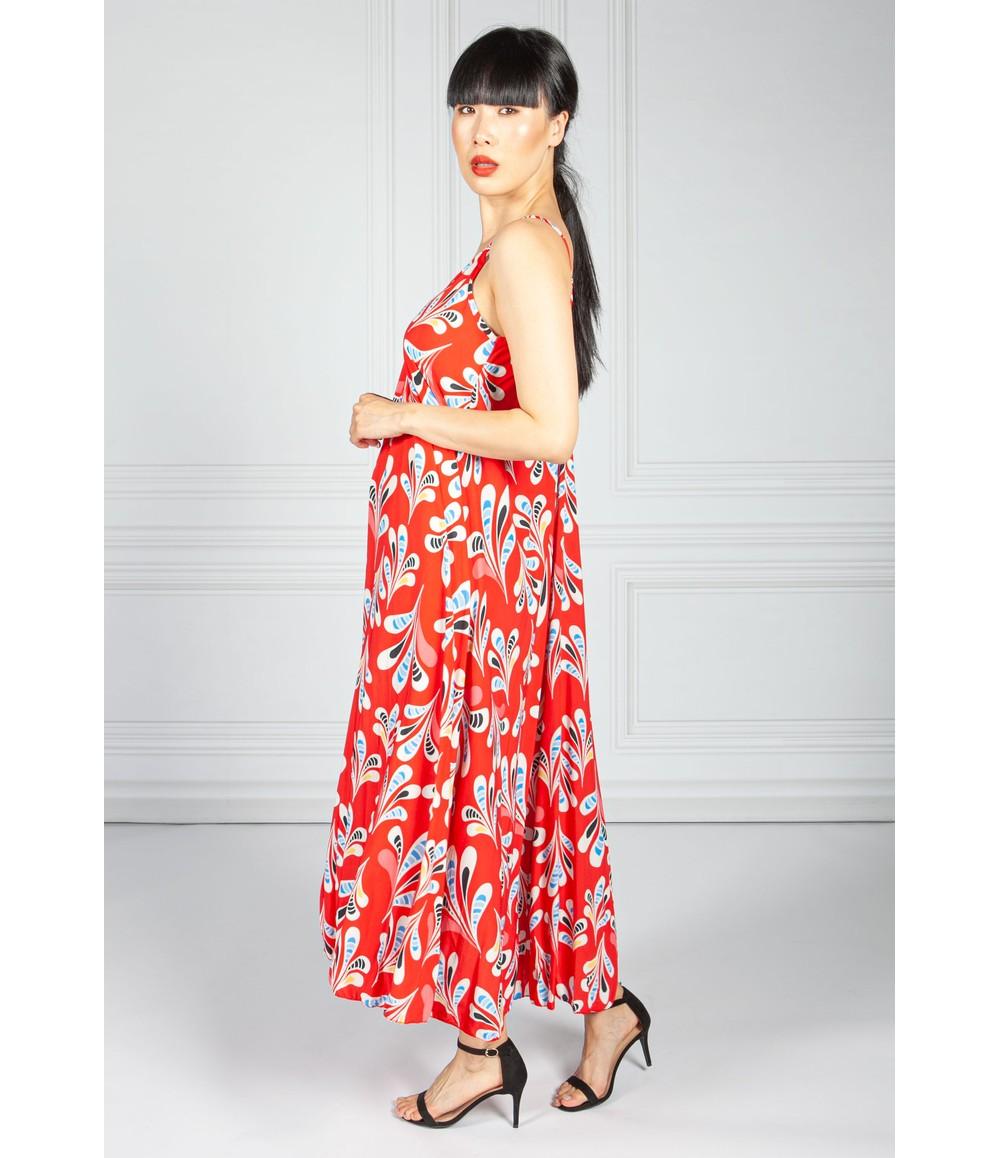 Pamela Scott Ruby Abstract Print Maxi Dress