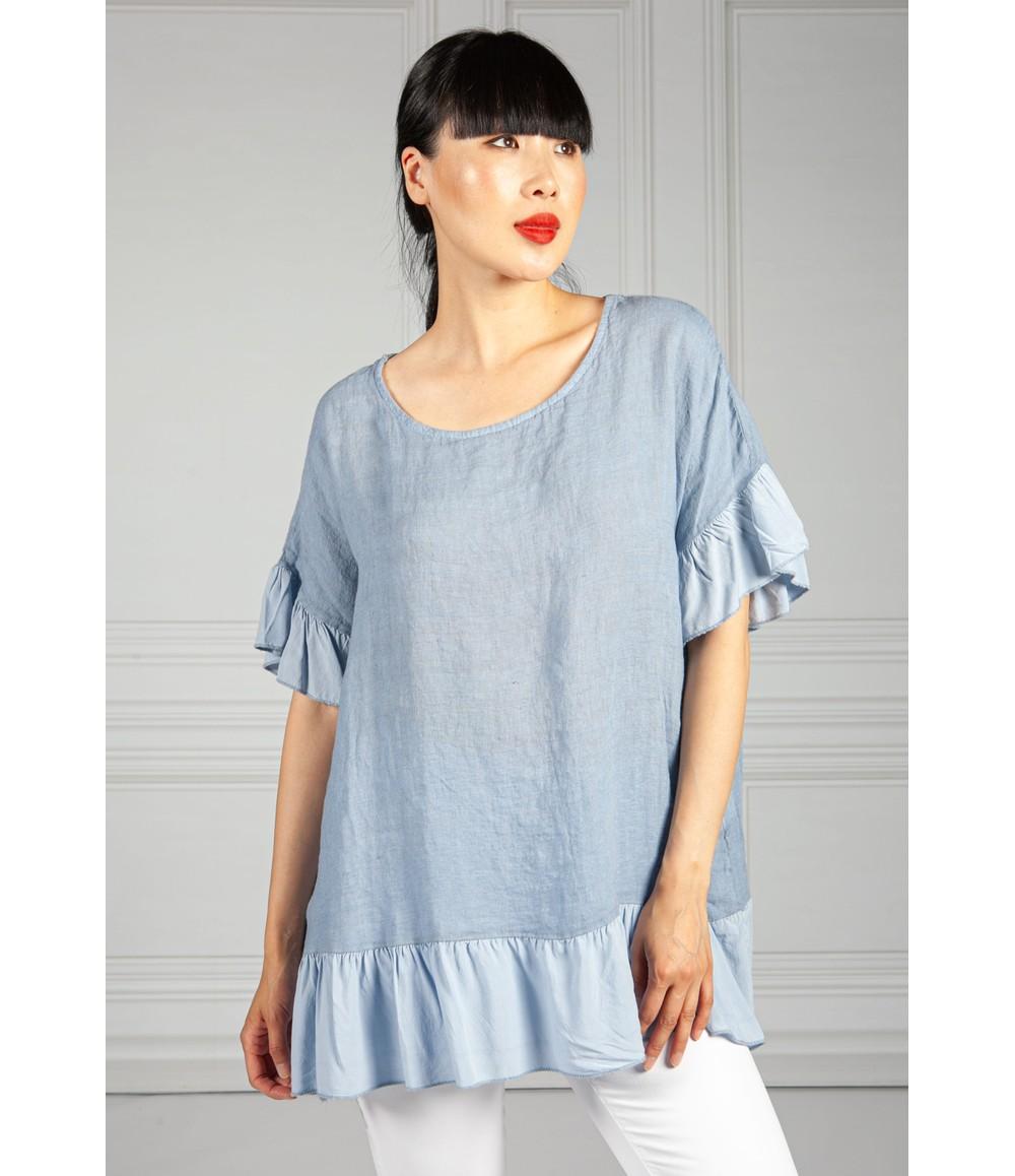 Pamela Scott Ruffle Detail Linen Blouse in Blue