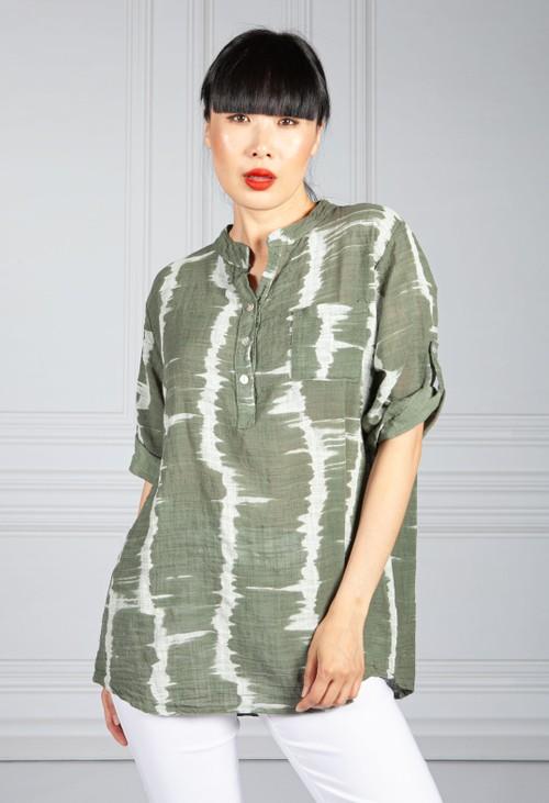Pamela Scott Cotton Tie Dye Shirt in Khaki