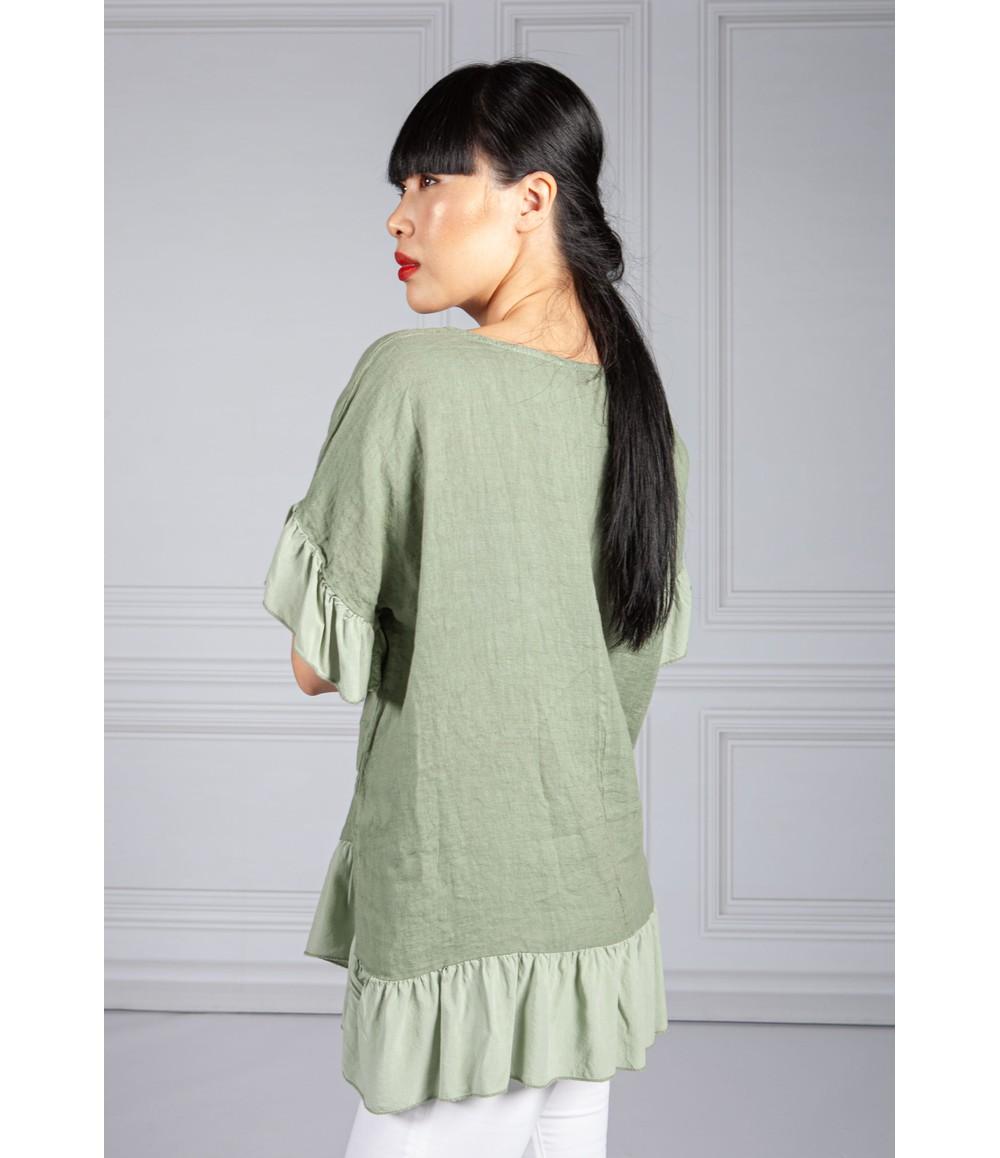 Pamela Scott Ruffle Detail Linen Blouse in Khaki