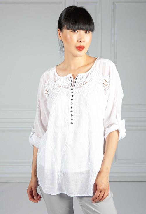 Pamela Scott White Button Down Embroidered Blouse