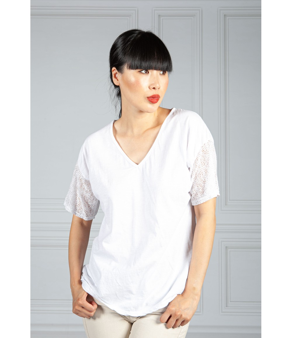 Pamela Scott V Neck Top with Embroidered Sleeve