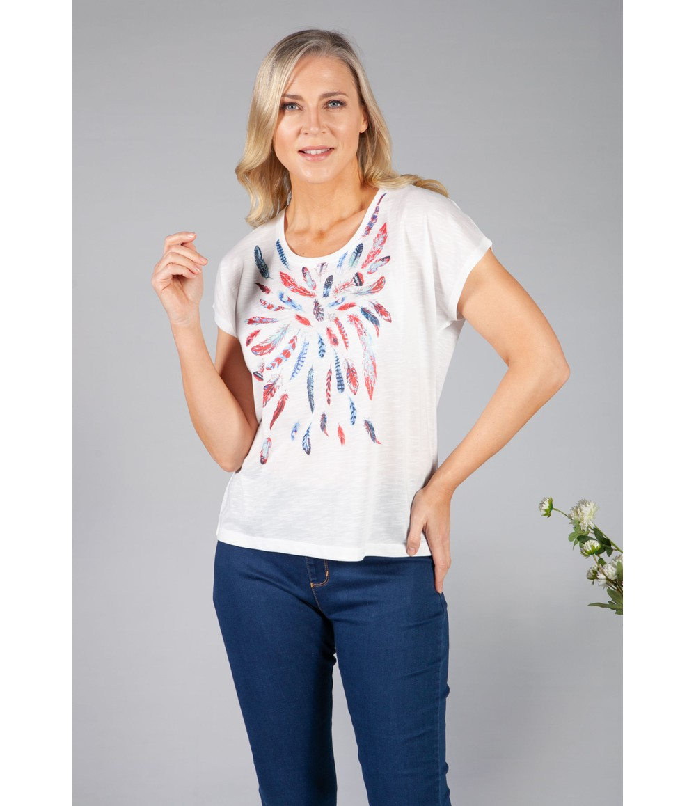 Twist Feather Print Top with Diamante Detailing