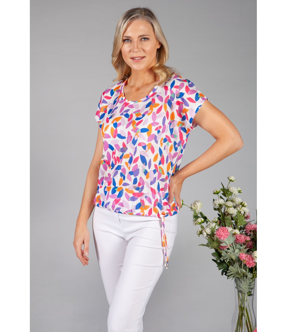 Twist Abstract Leaf Print Top in White