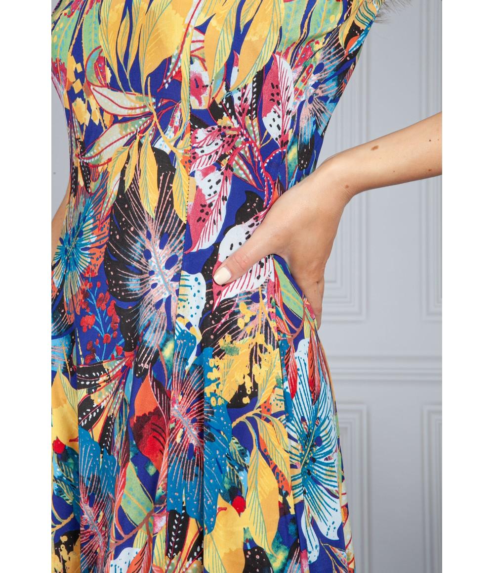 Zapara Palm Print Dress in Midnight Sky