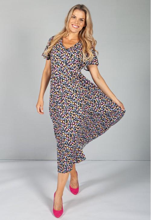 Zapara Button Through Flower Pop dress in Midnight Blue