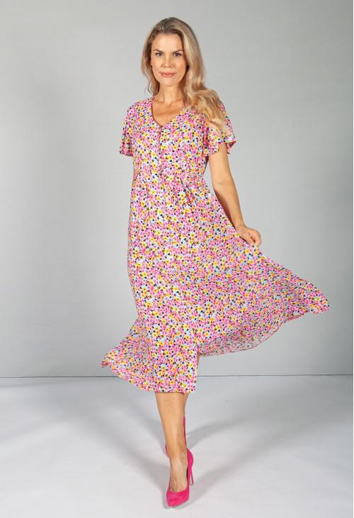 Zapara Button Through Flower Pop Dress in Pink