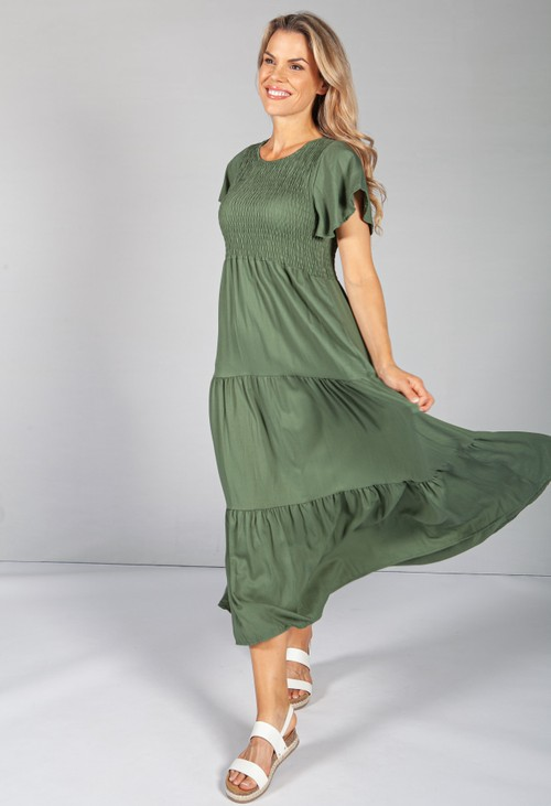 Zapara Khaki Maxi Summer Dress with Smocking Bodice