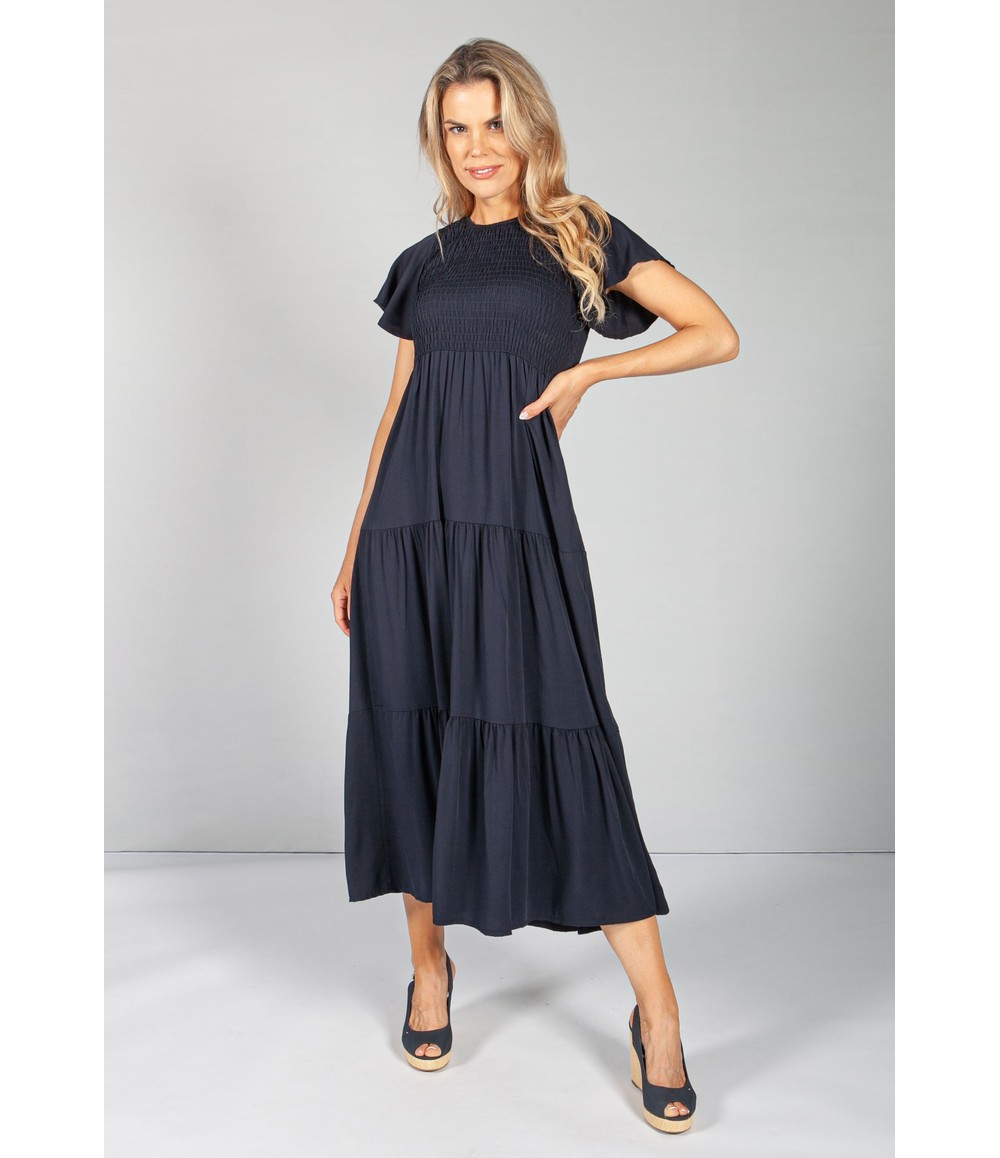 Zapara Navy Maxi Summer Dress with Smocking Bodice