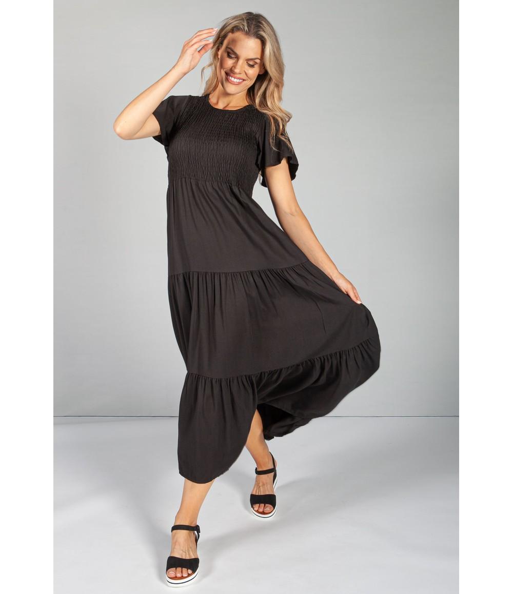 Zapara Black Maxi Summer Dress with Smocking Bodice