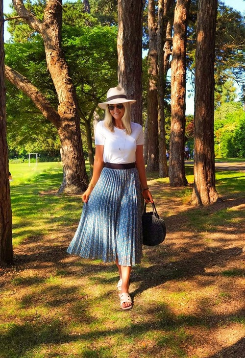 Pamela Scott Vintage Print Mint Skirt